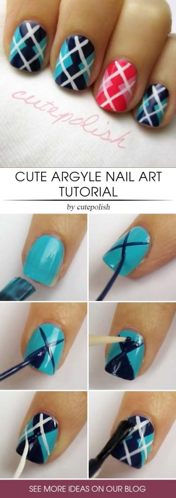 Red And Blue Argyle Nail Tutorial