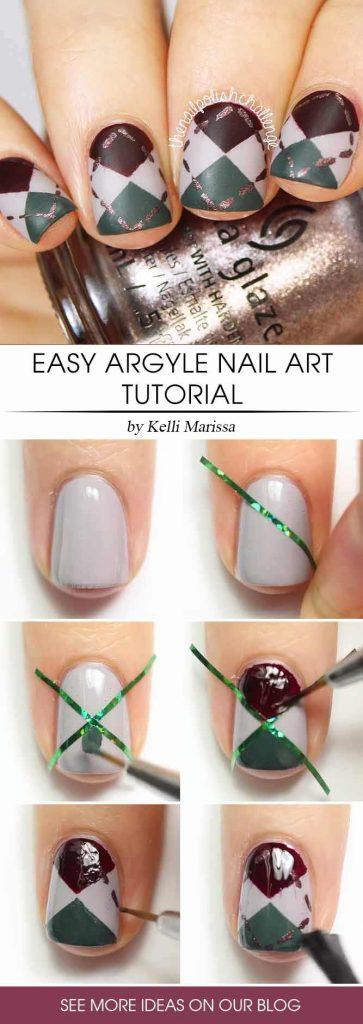 Easy Argyle Nail Art Step By Step