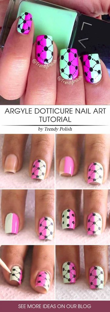 Vivid Dotted Argyle Nail Design Step By Step