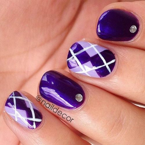 Purple Argyle Nail Design #shortnails