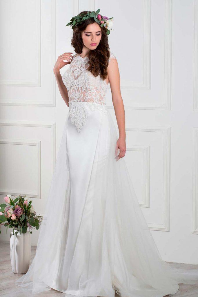 Halter Boho Dress With A-line Gown #alineweddinggown #weddinggown