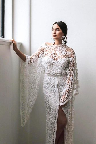 Gypsy Dress With Embroidery #bohostyle #longsleeves #laceweddingdress