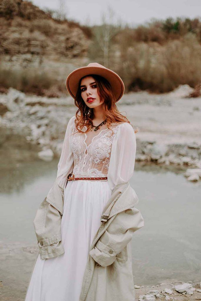 Boho Wedding Gown With Bishop Sleeves #bishopsleeves #bohemianwedding