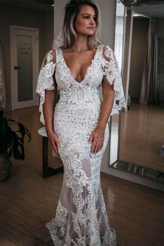 Boho Lace Wedding Dress With Choir Boy Sleeves #laceweddingdress #weddingdresses