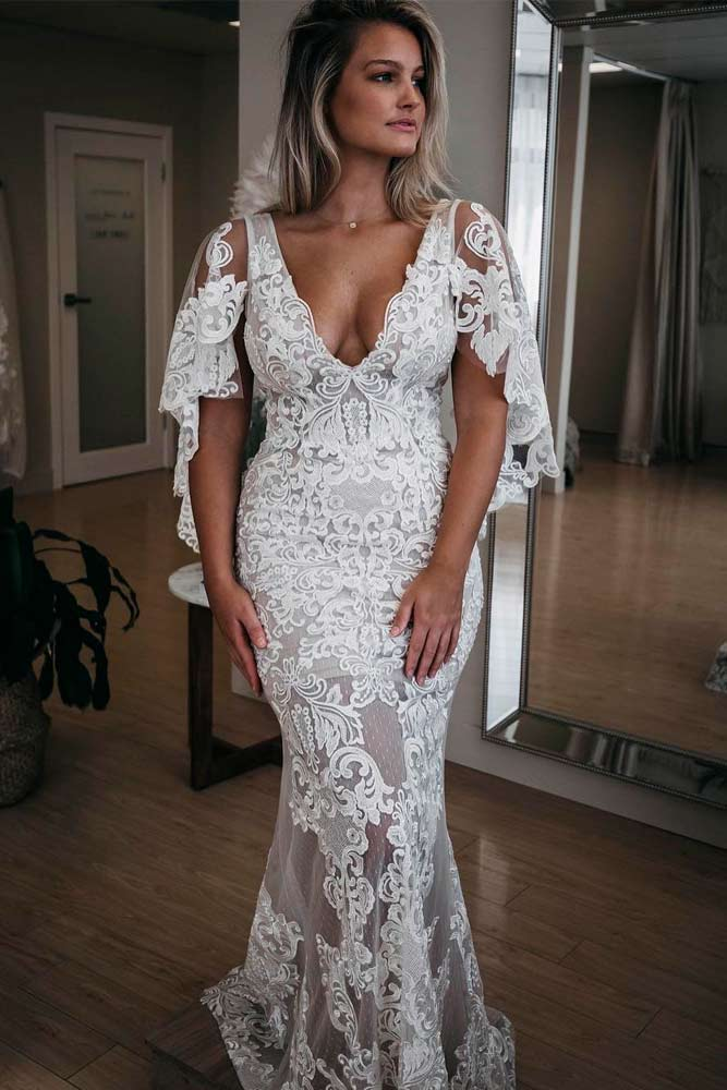 Boho Lace Wedding Dress With Choir Boy Sleeves #laceweddingdress #weddingdresses