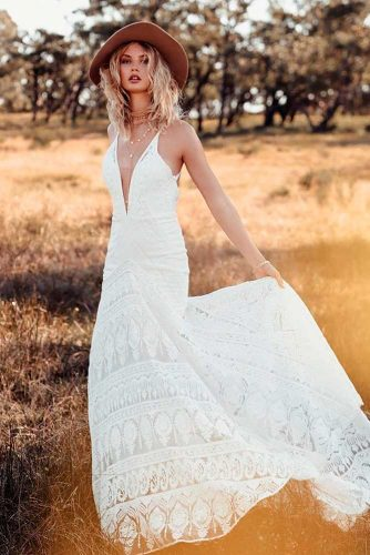 Cute Wedding Dress With Boho Pattern #summerweddingdress