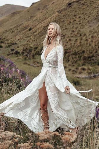 Royalty Wedding Gown For A Floral Princess #bohostyle #longsleeves #bridaldress