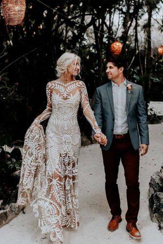 Elegant Wedding Dress With Boho Pattern Lace #elegantweddingdress