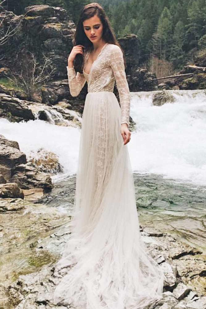 Boho Wedding Dress With Long Sleeve