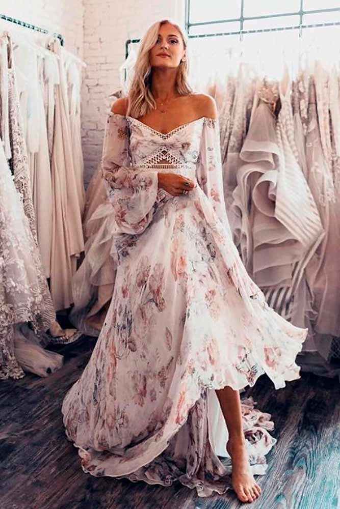 Floral Chiffon Wedding Dress #bohowedding #weddingdress