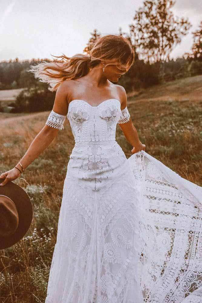 True Bohemian Wedding Dress With Multiple Laces #weddingdress #bohowedding