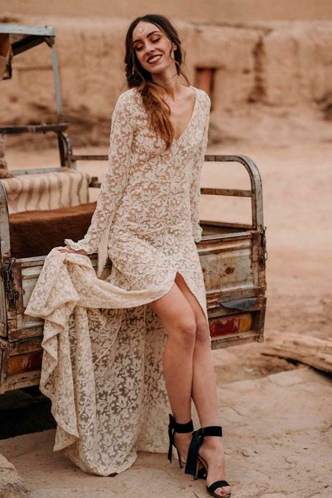 Simple Hippie Wedding Dress With Floral Pattern #hippiewedding #weddingdress