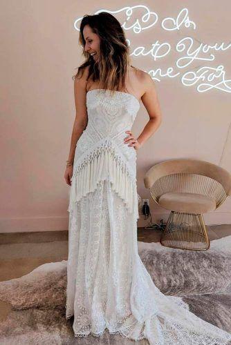Strapless Bohemian Wedding Dress With Fringe #straplessweddingdress #weddingdress