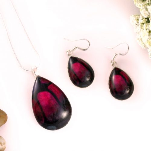 Burgundy Jewelry Set #burgundypendant #burgundyearrings