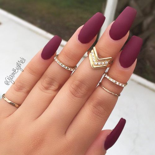Glam Nail Designs In Burgundy Colors picture 3