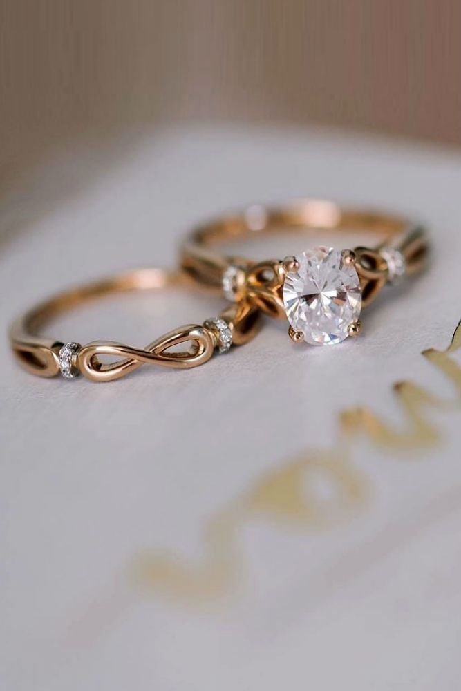 Amazing Rose Gold Ring Set #rosegoldring #ovalcut #diamonds