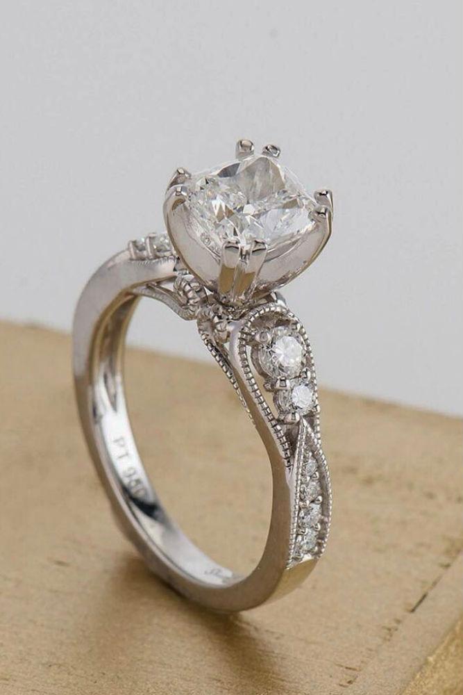 Vintage Diamond Ring #whitegoldring #vintagering #princesscut