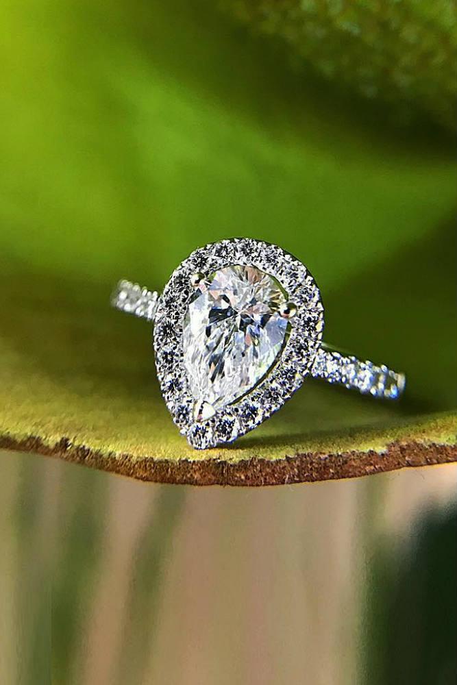 Pear Cut Engagement Ring #whitegoldring #pearcut #paveband