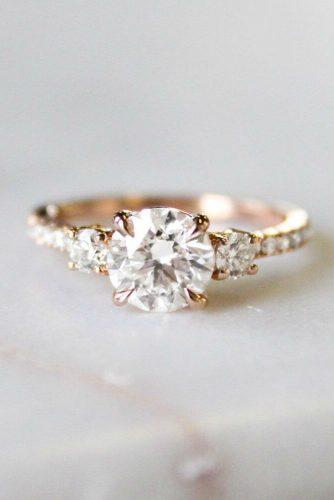 Beautiful Three Stone Ring #rosegoldring #roundcut #threestonering