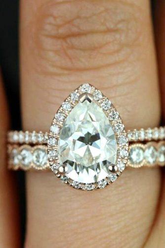 Diamond Engagement Ring Sets #rosegoldring #paveband #pearcut