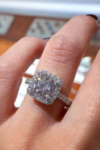 Cushion Cut Engagement Ring #whitegoldring #cushioncut #diamonds