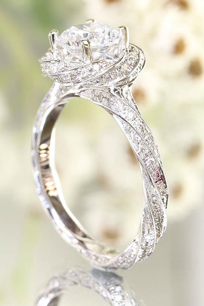 Flower Shaped Engagement Ring #diamonds #whitegoldring