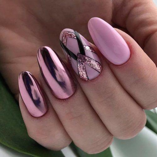 Pink Nails With Glitter Geometric Art #chromenails #pinknails