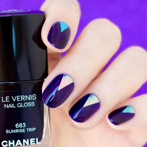 Deep Blue Oval Nail Design With Triangle Accent #deepblue