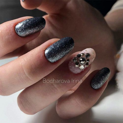 Silver Nails With Rhinestones Accent #glitter #nudenail