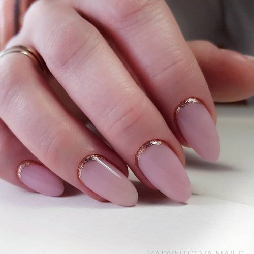 Nude Matte Nails With Glitter Reverse French Art #reversefrench #nudenails
