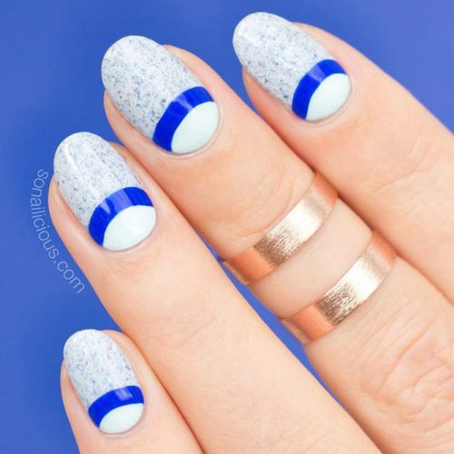 Simple Oval Nail Design With Half Moon Accent #simpleart