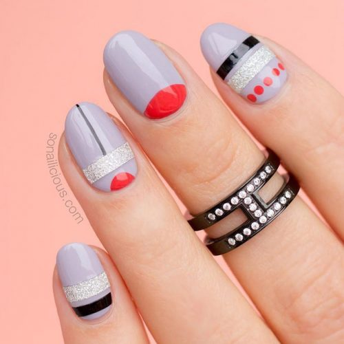 Oval Nails With A Half Moon Design #halfmoon