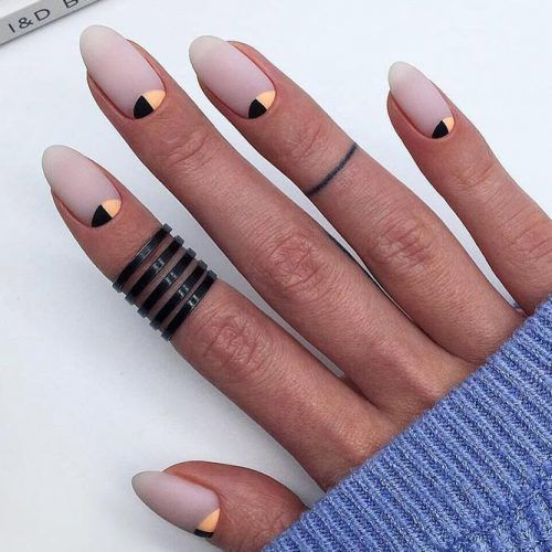 Nude Matte Nails With Colored Moons #colormoons