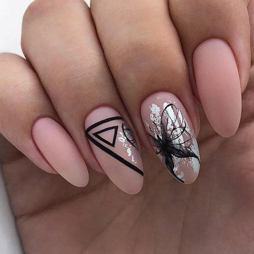 Nude Matte Nails With Silver Foil And Black Pattern #blackart #nudenails