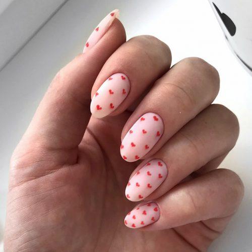Hearts Designs For Short Oval Nails #patternednails #mattenails