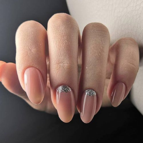 Nude Nails With Glitter Moons #nudenails