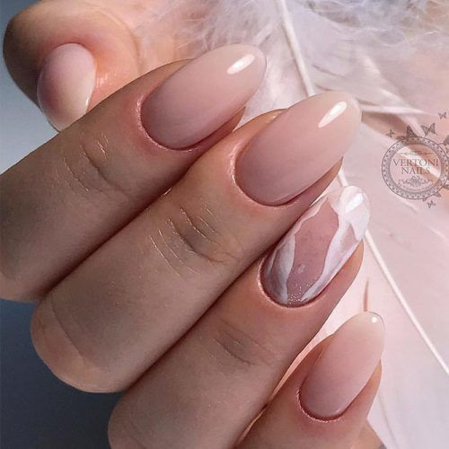 Nude Nails With Marble Nails #marbleart #nudenails