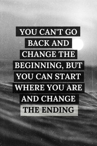 You can't go back and change the beginning, but you can start where you are and change the ending. #lifequotes #inspirationalquotes #quotesaboutlife #changes