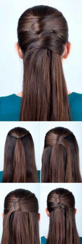 Crossed Half Up Half Down #hairtutorial
