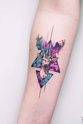 Galaxy Watercolor Tattoo Design With Deer #deer #galaxy #geometric