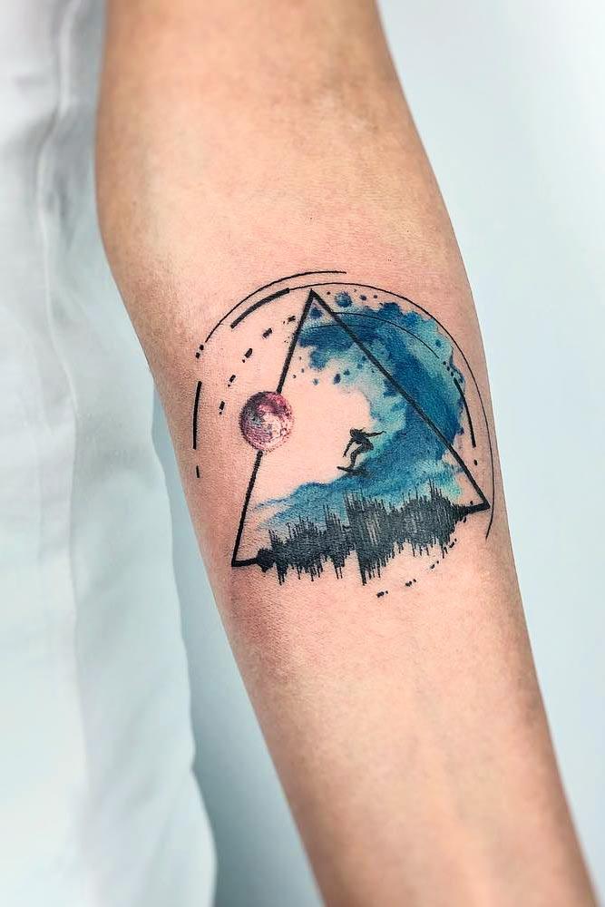 Watercolor Tattoo With Geometric Elements #geometrictattoo #triangletattoo