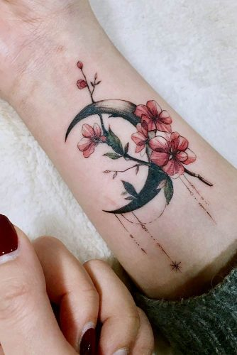 Watercolor Tattoo Design On The Arm #moon #cherryflowers