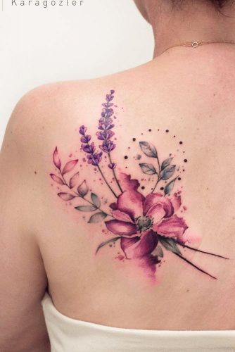 Back Watercolor Tattoo With Flowers #flowertattoo