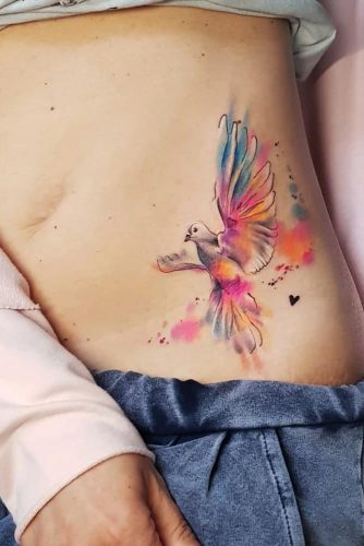 Belly Tattoo Design With Dove #dove #bellytattoo