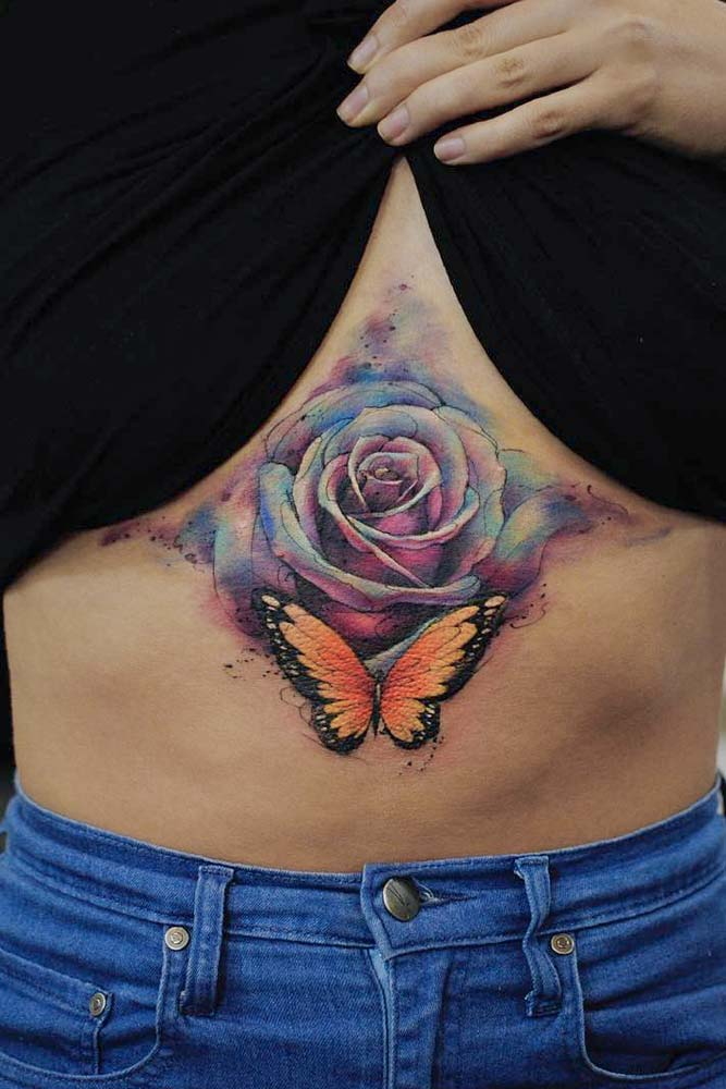 Rose And Butterfly Tattoo Idea #rosetattoo #butteflytattoo