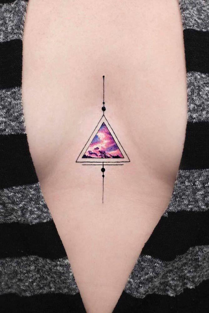 Triangle Galaxy Tattoo Design #triangletattoo #galaxytattoo