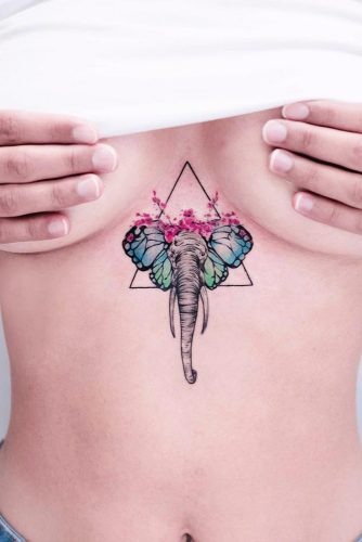 Watercolor Tattoo Idea For Chest #tattoochest #elephant