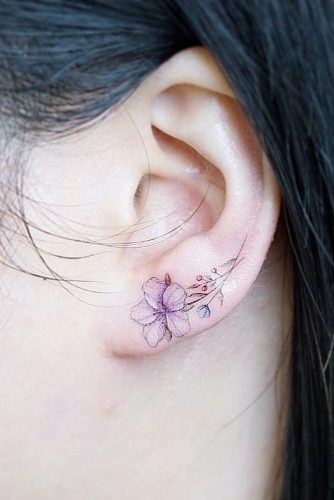 Small Flower Tattoo Idea On Ear #flowertattoo