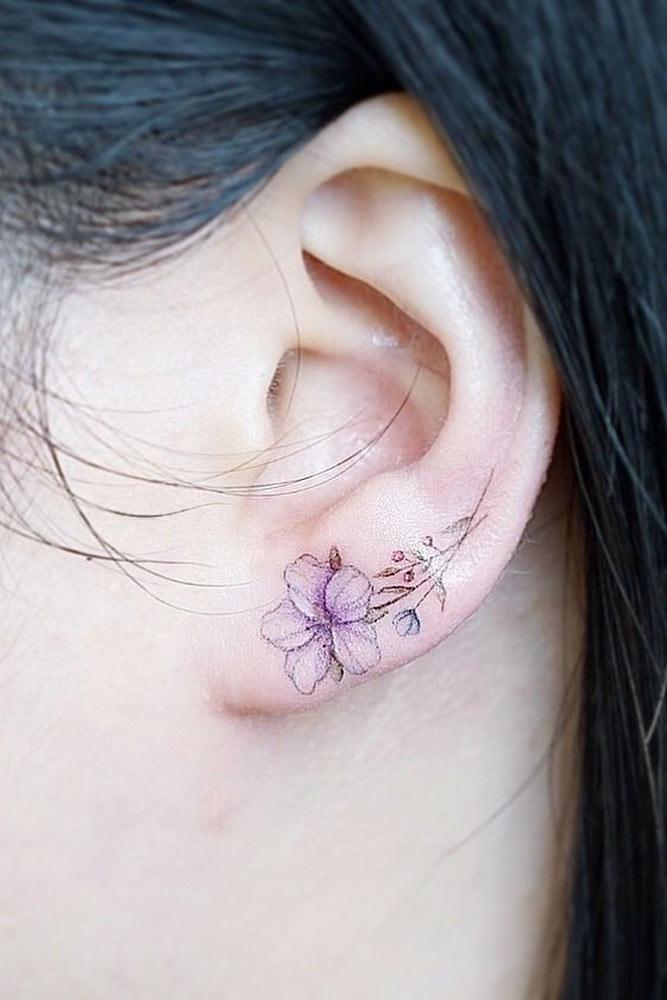 Small Flower Tattoo Idea On Ear #flowertattoo