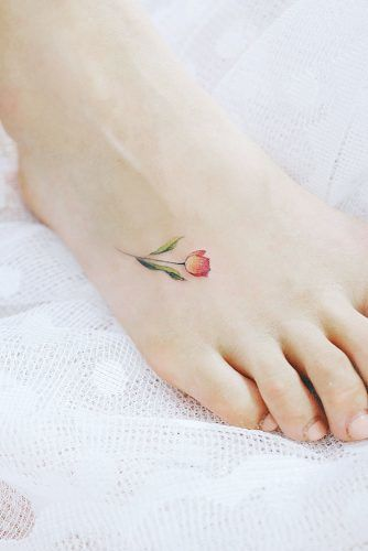 Foot Tattoo Design With Flower #flowertattoo #tinytattoo